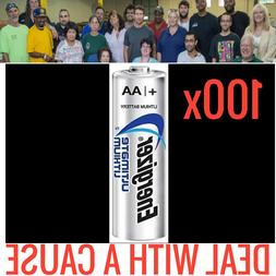 100 NEW ENERGIZER ULTIMATE LITHIUM AA BATTERIES 1.5V FRESH B