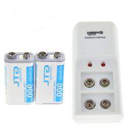 2 pcs 900mAh 9V Rechargeable Batteries + 9-Volt NI-MH Batter