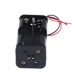 2 pcs black plastic battery holder case with wired for 4 x A