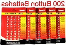 200 Pcs Assorted Super Alkaline Button Batteries Coin Cell S