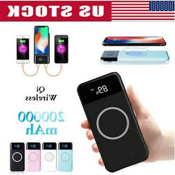 2019 New 20000mAh Qi Wireless Charger Power Bank LED LCD Ext