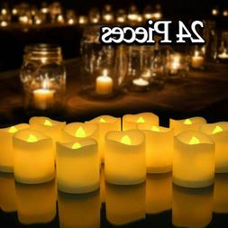 24x Realistic LED Tea Lights Fake Candles Flickering Flamele