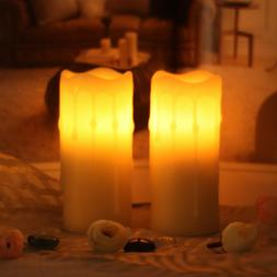 2pcs Flameless Candle With Timer Real Wax Battery Operated F