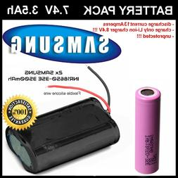 2S1P 18650 battery pack 7.4V 3500mAh 2x SAMSUNG INR18650-35E