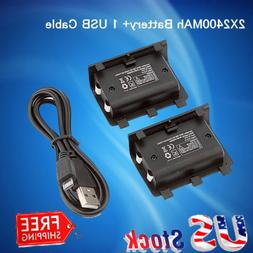 2x 2400mAh Rechargeable Battery+USB Cable For Xbox One Games