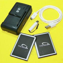 AceSoft 3720mAh Extended Slim Battery or Wall Charge for LG