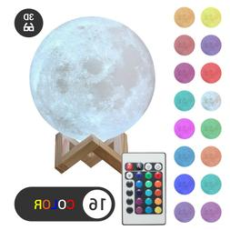 3D Moon Night Light Table Lamp USB Charging Remote Touch Con
