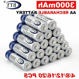 4-20pcs BTY AA / AAA Rechargeable Battery 1.2V 3000mAh /1000