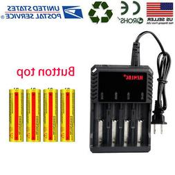 4 Slot 18650 Charger + 4x3.7V  Li-ion Battery Rechargeable B