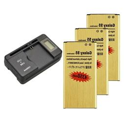 4350mAh High-Capacity Gold Battery & Charger for SamSung Gal