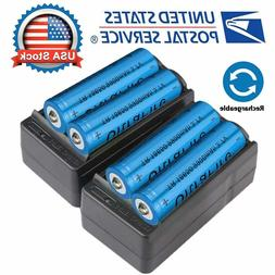 4X 18650 3.7V Li-ion Lithium Rechargeable Battery + 2X Smart
