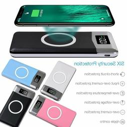500000mAh Power Bank Qi Wireless Charging 2 USB LED Portable