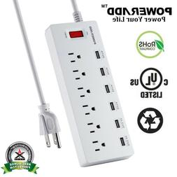 6FT 6 Outlet 6 USB Charging Port Power Strip with Surge Prot
