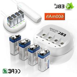 EBL 600mAh 9V 6F22 Li-ion Rechargeable Batteries + 9 Volt Ba