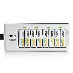 EBL 808 Rapid 8 Bay AA AAA Battery Charger with 8 Counts AA