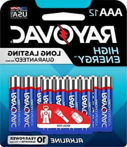 RAYOVAC 824-12CF AAA 12-Pack HIGH ENERGY Alkaline Batteries,