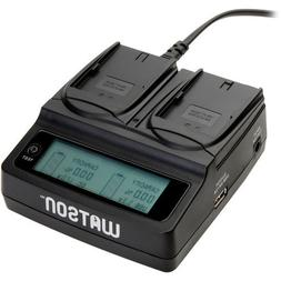 Watson Duo LCD Charger with 2 LP-E6 Battery Plates - Accepts
