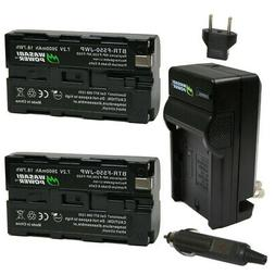 Wasabi Power Battery  and Charger for Sony NP-F330, NP-F530,