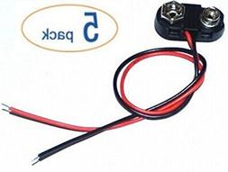 5pack 9v Battery Clips with bare leads by Corpco