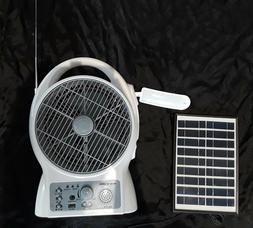 """BATTERY FAN RECHARGEABLE 8"""" BLADE WITH SOLAR PANEL AND FM RA"""