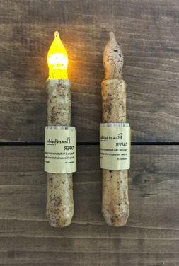 LED Battery TIMER Taper Flicker Candle - Grungy Burnt Ivory