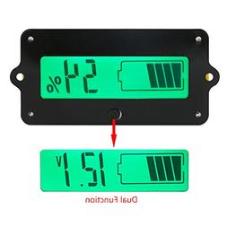 DC Battery Meter, DROK Digital Battery Voltage Capacity Perc