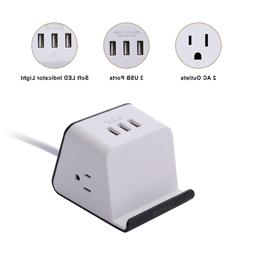 Cube Smart Power Strip with 3 USB Charging Station, 2 Power