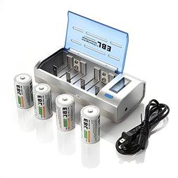 EBL D Cells 10000mAh Rechargeable Batteries  with C D 9V AA