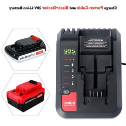 Fast Charger for Black&Decker 20v Lithium Battery and Porter