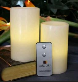 LED Lytes Flameless Candles Battery Operated Pillars w/Remot