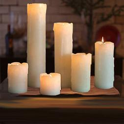 6pc LED Timer Flameless Candles Flickering faux Wax Drip 2'-