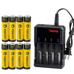 Lot AIRKOUL 18650 Battery Li-ion 3.7V Rechargeable Charger F