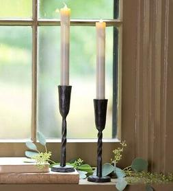 Hand-Forged Iron Battery-Operated Window Candle with Auto Ti