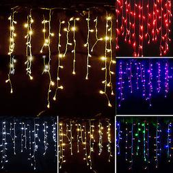 Icicle Hanging Snowing String Fairy Lights Curtain Christmas