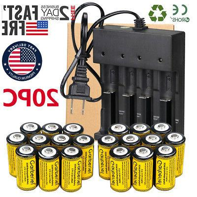 20x cr123a 3 7v li ion rechargeable