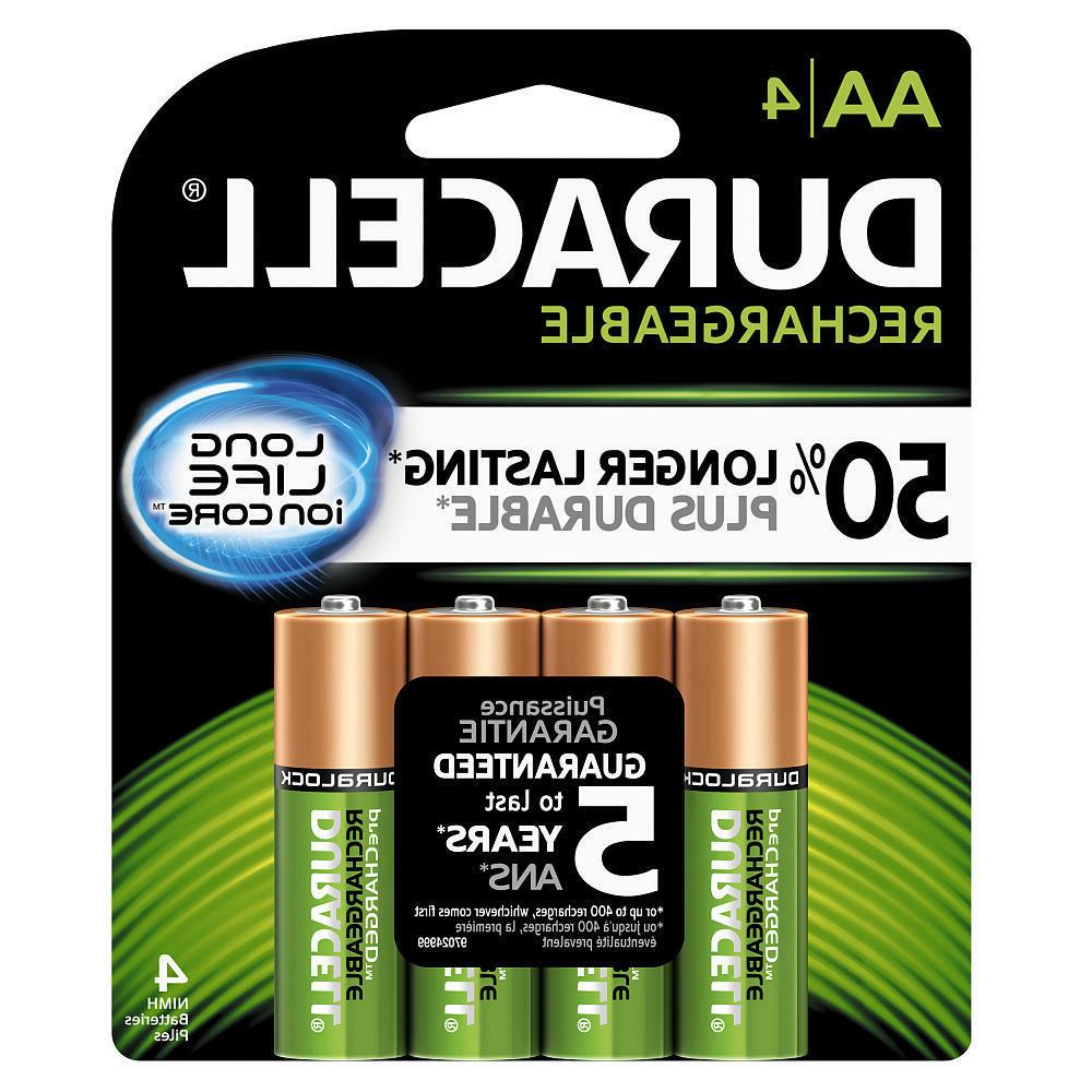 4 Duracell AA Rechargeable NiMH Batteries