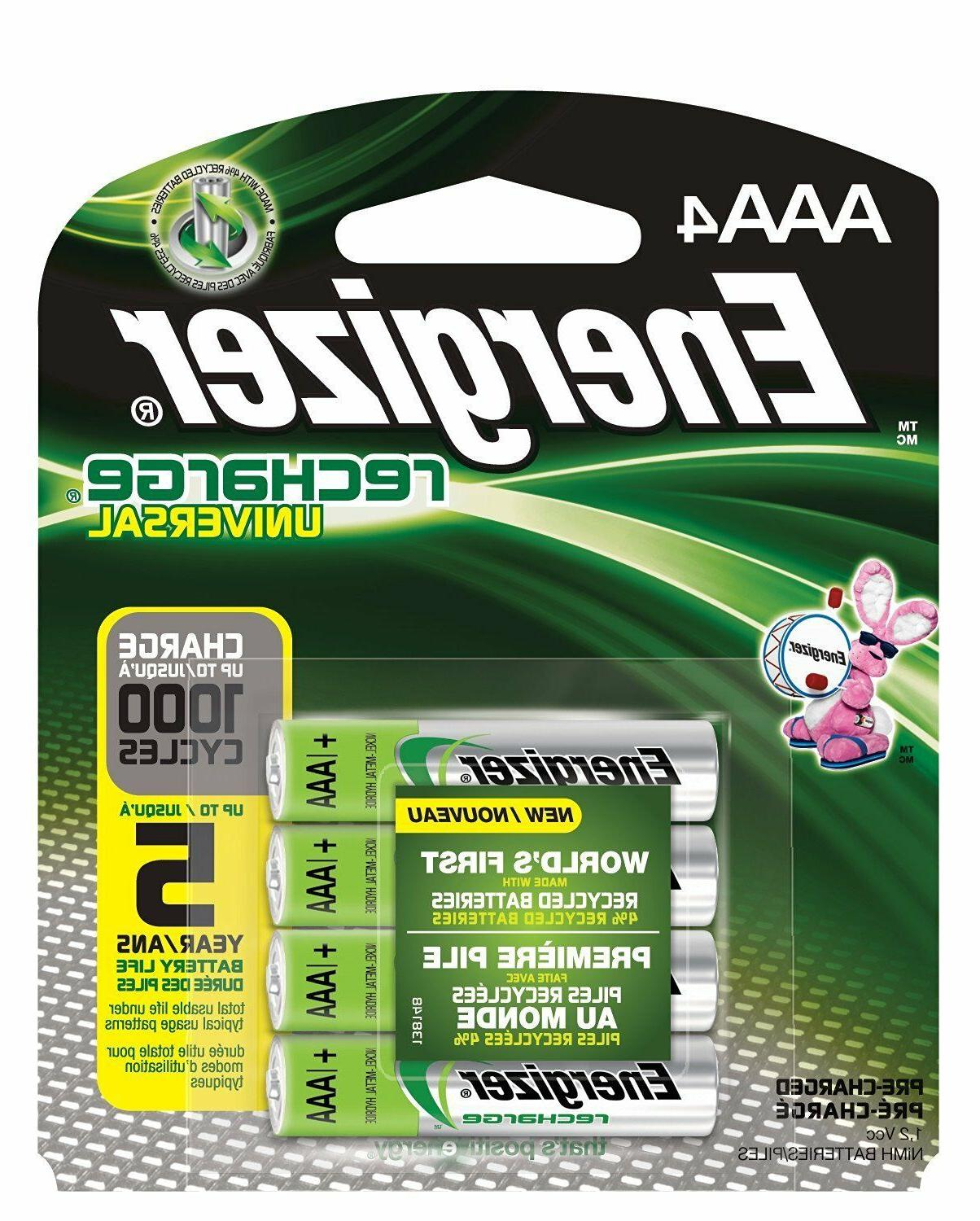 4/pack AAA Energizer Rechargeable NiMH Batteries EXP 2021, A