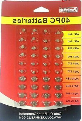 40 assorted super alkaline button batteries coin