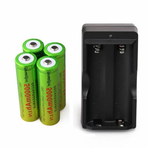 4PCS 18650 Rechargeable 5000mAh + Charger USA