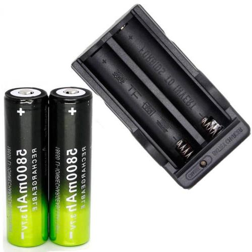 4x 18650 Rechargeable Batteries 5800mAh + Battery Charger!
