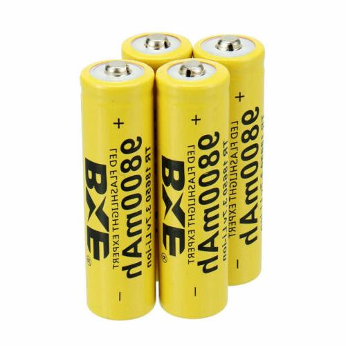 Rechargeable 18650 Battery 3.7V Li-ion with US Charger for