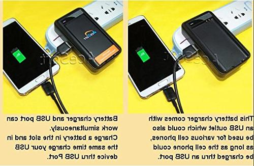 5in1 AceSoft 4450mAh Slim Battery Travel Desktop Special Rapid Charger Data Cable for Talk/TracFone/Net10 Samsung I9600 SM-S903VL Cellphone