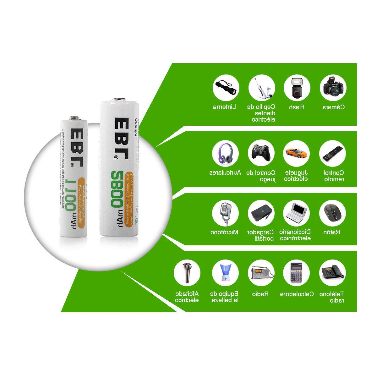 Lot 2800mAh Rechargeable NI-MH For