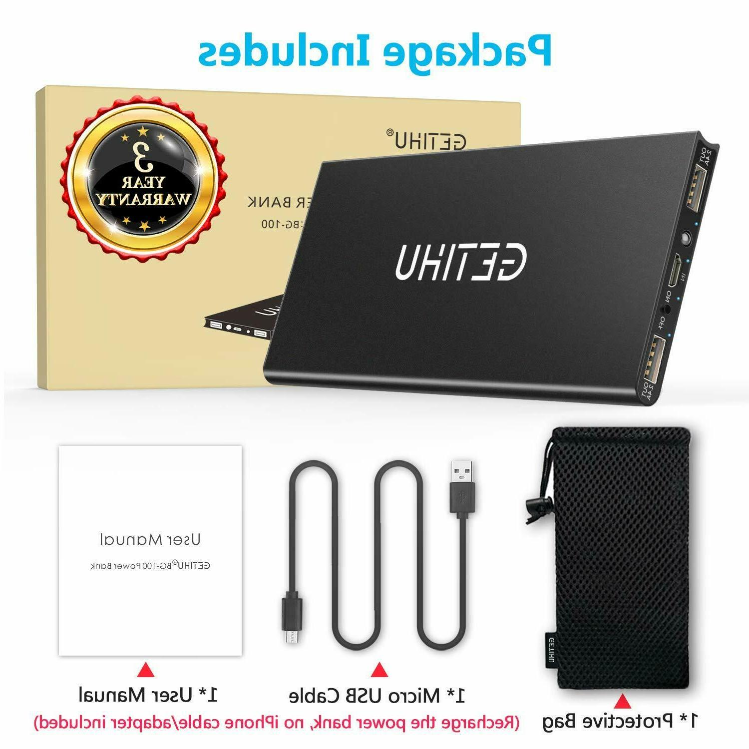 GETIHU Charger 10000 mAh Power Bank Speed USB Battery Pack