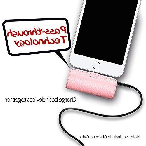 iWALK Portable Charger with Built in 3300mAh Ultra-Compact Battery Pack Compatible with iPhone 5 7 8 X SE XS, Pink
