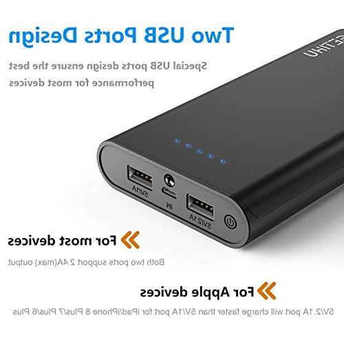GETIHU Bank 20000mAh Portable Charger High-Speed 2 USB Ports Battery Pack with iPhone 6s iPad Phone