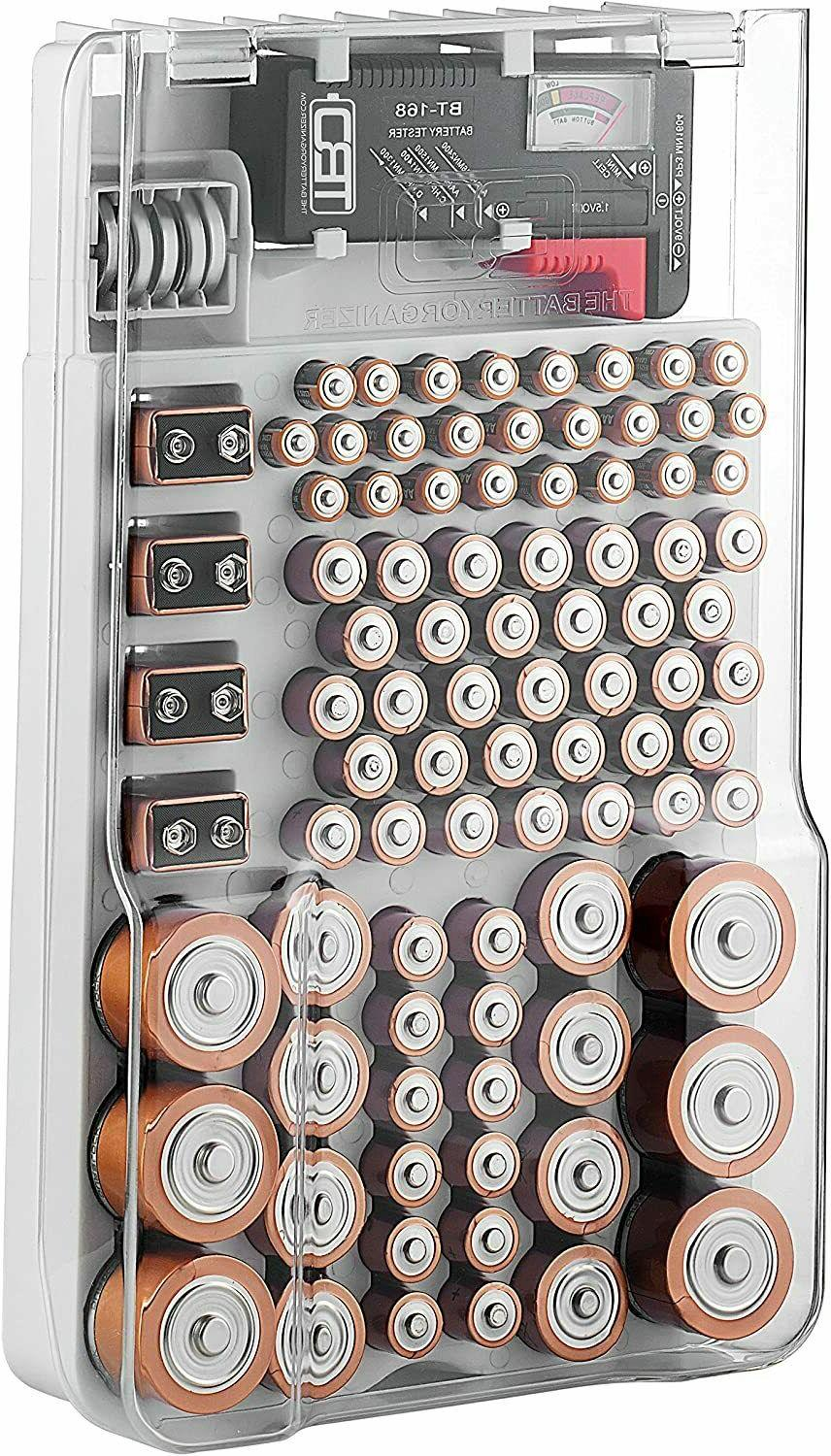 low priced 0a8e7 e3e90 The Battery Organizer Storage Case with Hinged Clear