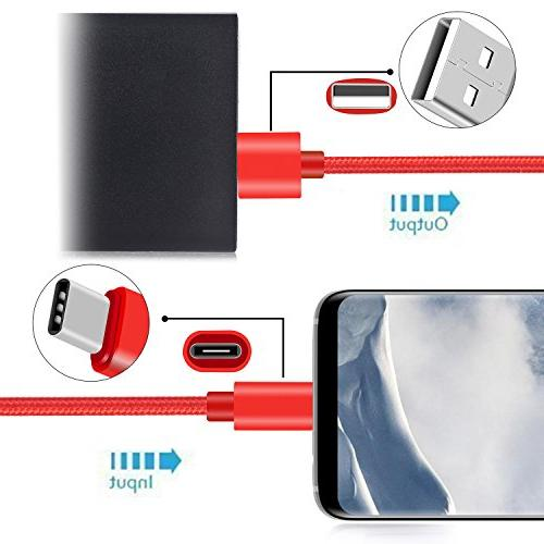 USB Asstar Pack USB C Braided Type A Charger for ZTE Zmax Pro XL, Nexus 6p/5X,LG G5/Galaxy S8+
