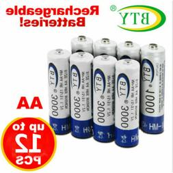 Lot of 4-20pcs BTY AA 2A Rechargeable Battery Ni-MH 1.2V 300