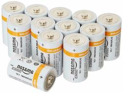NEW AmazonBasics D Cell Everyday Alkaline Batteries 12-Pack